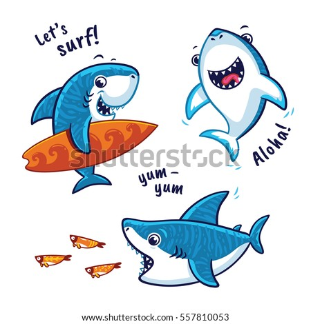 set of blue shark cartoon