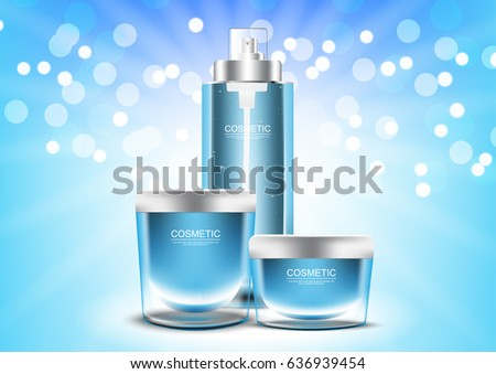 Set of Blue skin care vector cosmetic ads template #636939454