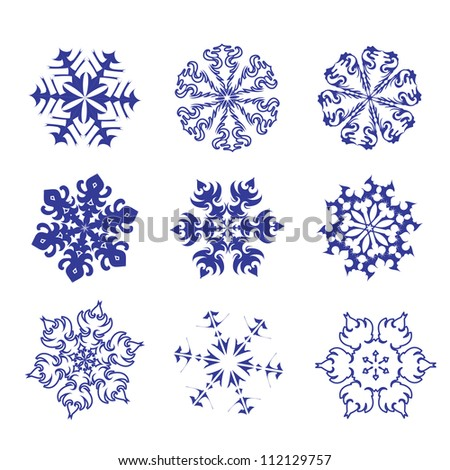 Set of blue snowflakes on a white background. Vector. eps 8