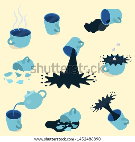 set of blue tea and coffee cups