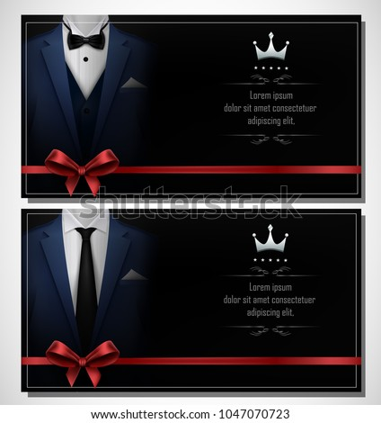 Set of blue tuxedo business card templates with men's suits and place for text