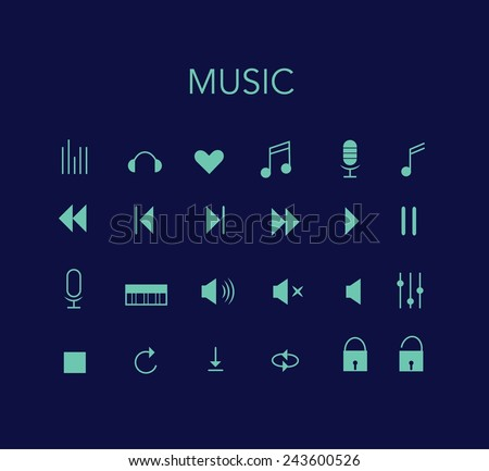 Set of blue vector music icons with dark background. Minimal style design.