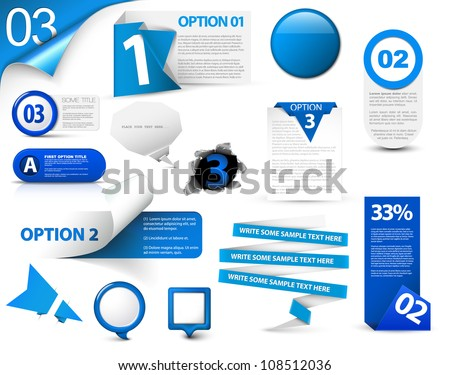 Set of blue vector progress, version, step icons