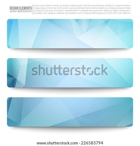 set of 3 blue vector web