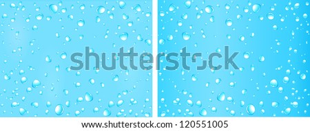 set of blue water background with many drop