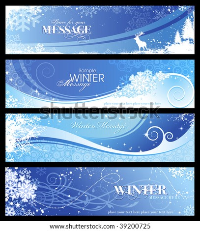 set of 4 blue winter banners with snowflakes and floral elements - stock vector