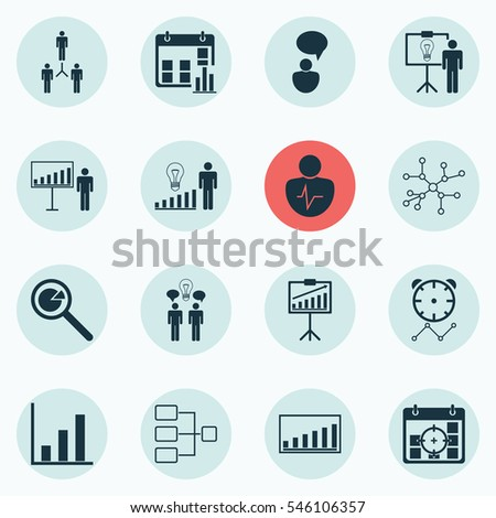 Set Of 16 Board Icons. Includes Presentation Date, Co-Working, Conversation And Other Symbols. Beautiful Design Elements. #546106357