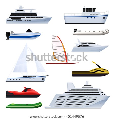 Set of boat. Sailing and motor boats, yacht, jet ski, boat, motor boat, cruise ship, windsurfing. Isolated on white background.