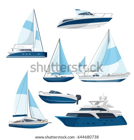 Set of boats with sails, one and double decked yachts
