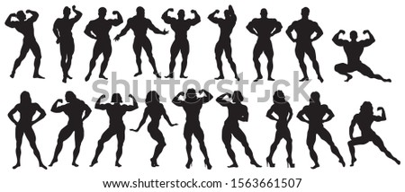 Set of bodybuilders. Collection of silhouettes of posing muscular people. Sports posing for competition. Vector illustration for sports shops. Tattoo. Сток-фото ©