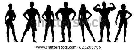 Set of bodybuilders vector silhouettes. Posing men and women. Muscular people Photo stock ©