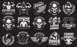 Set of bodybuilding emblems in white colour. Big bundle. Vector illustration