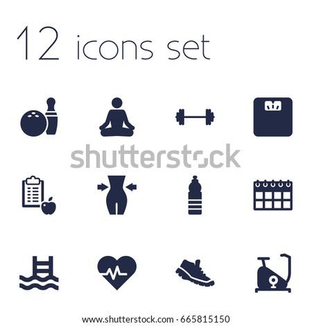 set of 12 bodybuilding icons