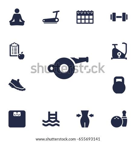 set of 13 bodybuilding icons