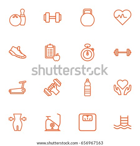 Set Of 16 Bodybuilding Outline Icons Set.Collection Of Diet, Water Bottle, Dumbbell And Other Elements.