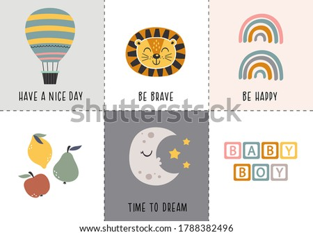 set of bohemian baby icons with hot air balloon,lion,rainbow,fruit,moon -  vector illustration, eps