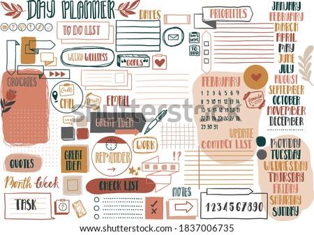 Set of boho bullet journal or day planner elements. Bullet journal builder  ストックフォト ©
