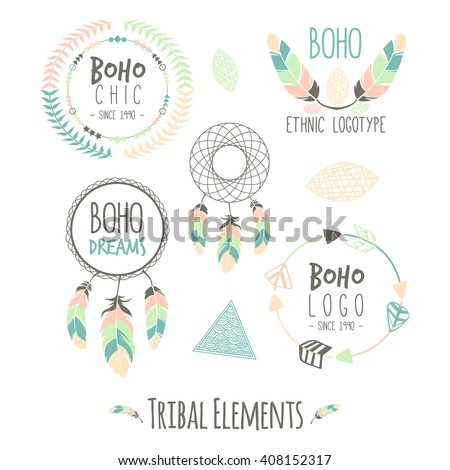 Set of Boho Style Frames, logos and hand drawn element. Vector illustration. Boho tribal hipster label set. Ornament vintage symbol element, decoration drawing collection, flyer, baner, card, brochure