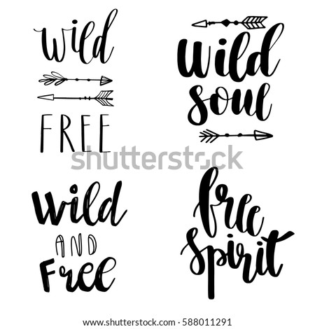 Set of Boho Style Lettering quotes and hand drawn elements. Vector illustration
