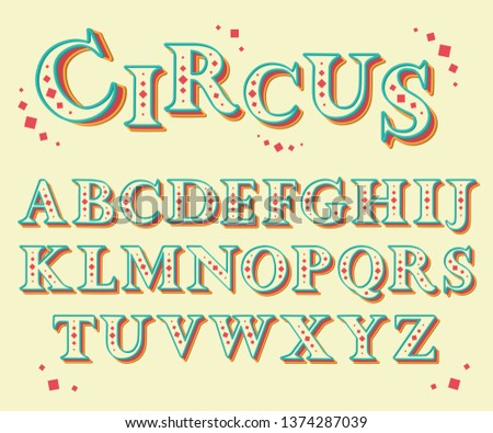 Set of bold serif letters. Font for postcards, posters and stickers.