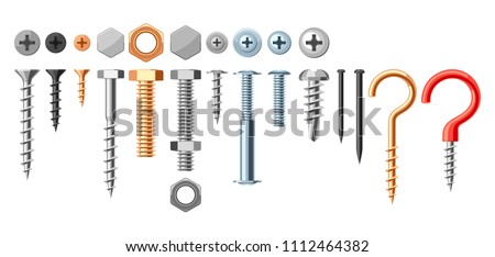 Set of bolts nuts nails. Various iron screws collection.