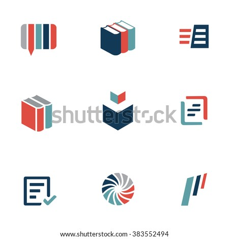 Set of book and language icons. Translation services and dictionary concept.