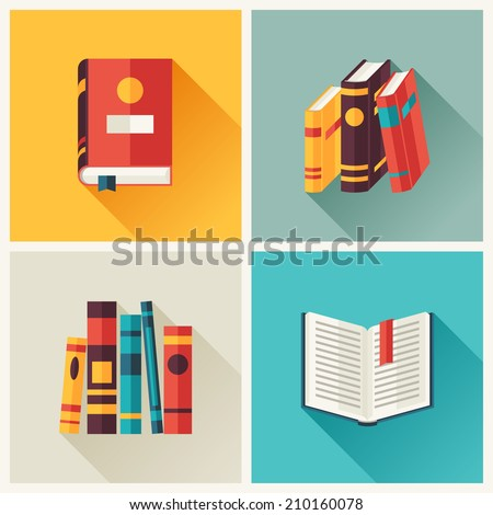 Set of book icons in flat design style.
