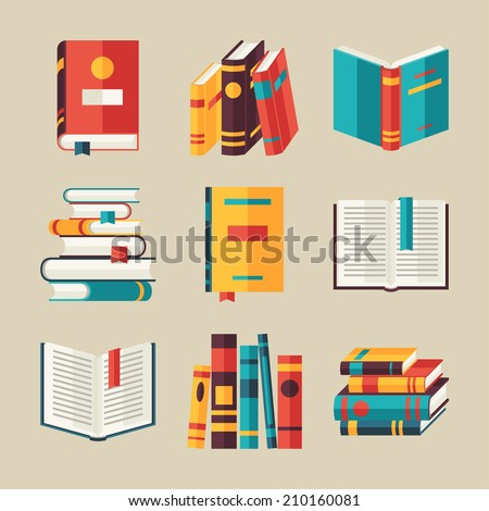 set of book icons in flat