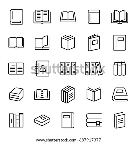 set of 25 book thin line icons. ...