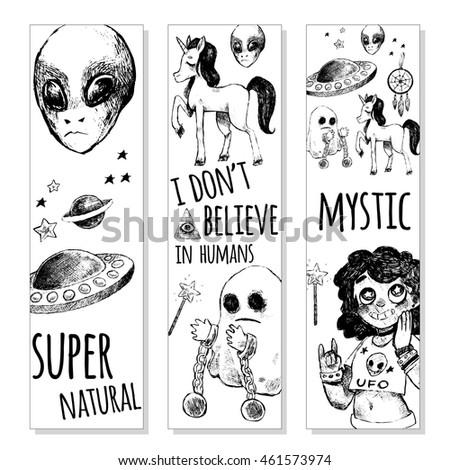 set of bookmarks flying saucer