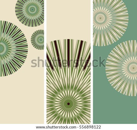 Set of bookmarks with stylized dandelion flowers in green, brown and ivory