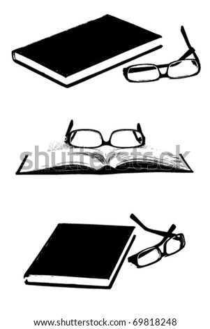 Set of books and glasses silhouettes