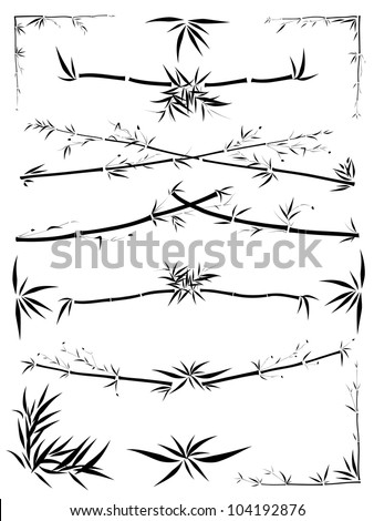 Set of border and corner asymmetric decoration from bamboo in the Asian style drawn by ink.