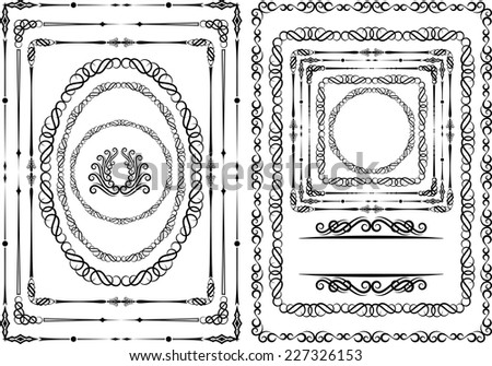 set of borders and frames design elements