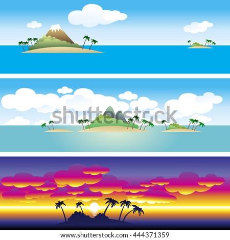 set of 3 borders landscape