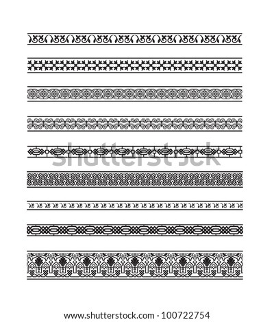 Set of borders with Arab floral and geometric designs. #100722754