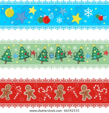 set of borders with designs for christmas - stock vector