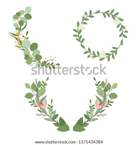 Set of botanical vector - botanical wreath - wild flowers and herb - Vector