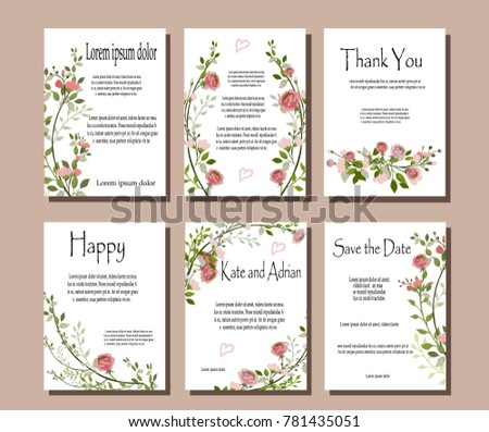 Set of botanical vector cards. Template for invitation. Leaves and flowers #781435051