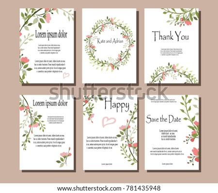 Set of botanical vector cards. Template for invitation. Leaves and flowers #781435948
