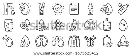 Set of Bottle, Antibacterial filter and Tap water linear icons. Water drop line icons. Bacteria, Cooler and Refill barrel bottle. Liquid drop, antibacterial cleaner and drink machine, tap. Vector
