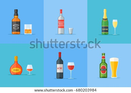 set of bottles and glasses with