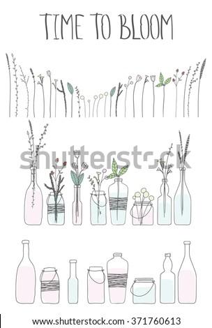set of bottles and jars with