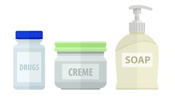 Set of bottles for bath soap and cream. Eps10 vector illustration. Isolated on white background