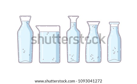 set of bottles of various