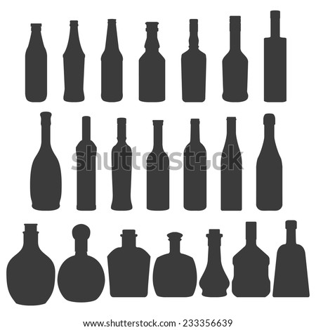 set of bottles silhouettes of