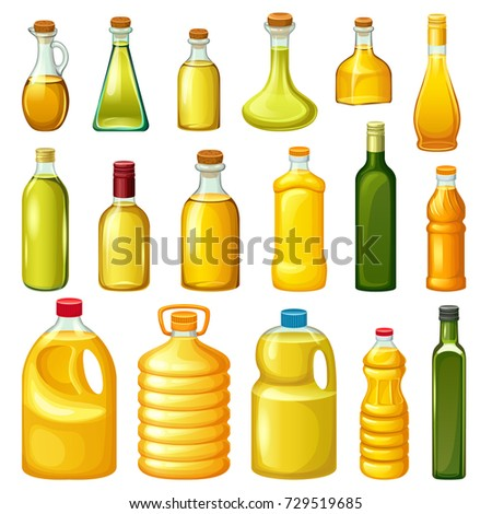 Set of bottles with vegetable vitamin oils for cooking. Isolated vector illustration on white background.