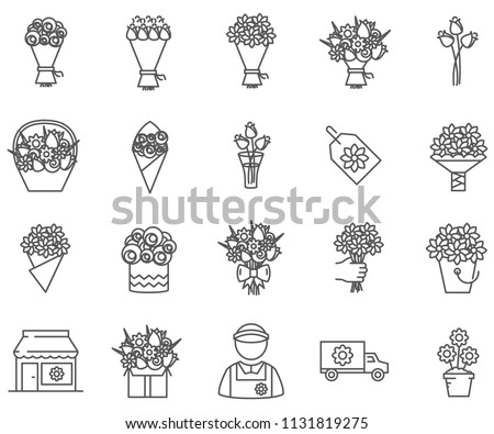 Set of bouquet Related Vector Line Icons. Includes such Icons as flowers, roses, delivery, present and more.
