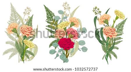 set of bouquets carnation  fern ...