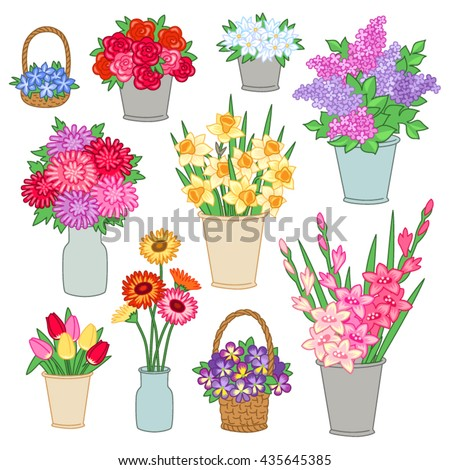 set of bouquets of flowers in